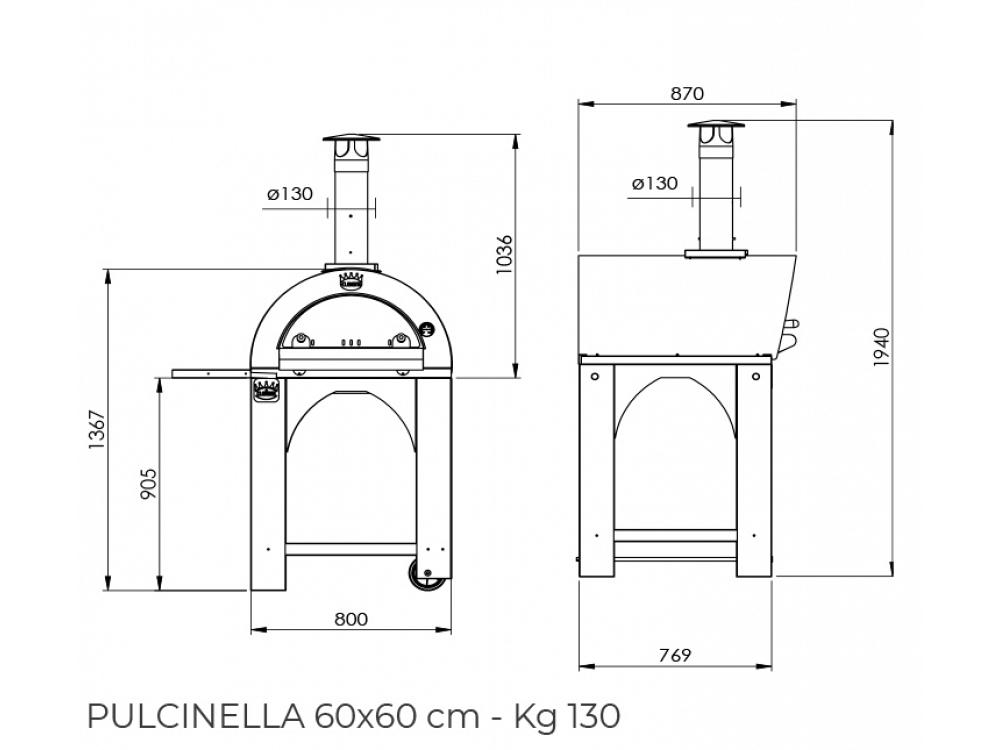 Forno a legna Clementi Pulcinella 60x60 tetto inox 07034773
